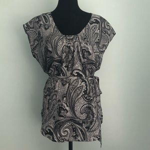 New York & Company paisley career top blouse L